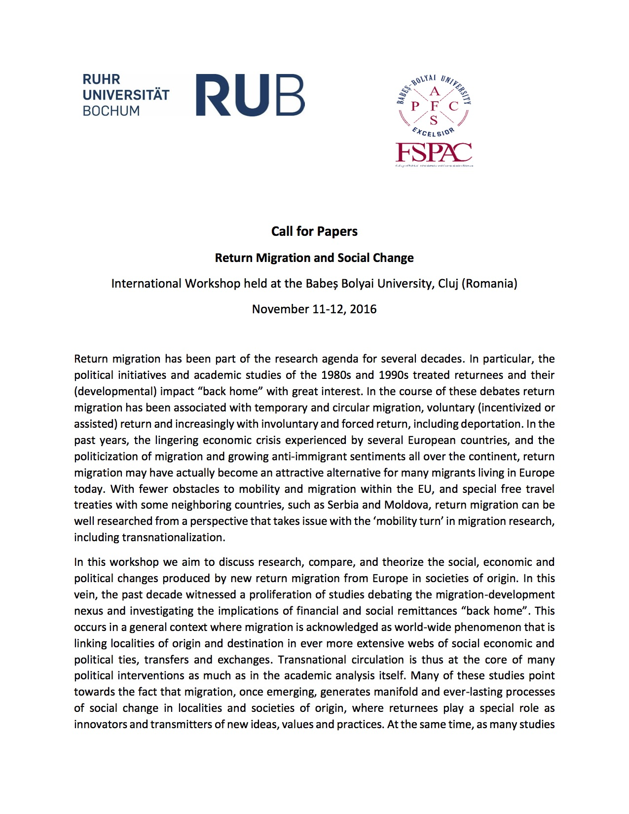 Call for Papers Return Migration and Social Change